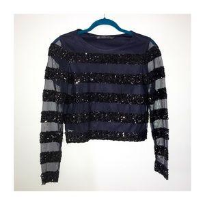 Zara Tops - Zara Sequined black long sleeves top